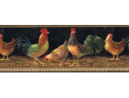 9 in x 15 ft Prepasted Wallpaper Borders - Roosters Wall Paper Border TH29002B