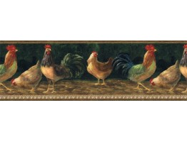 9 in x 15 ft Prepasted Wallpaper Borders - Roosters Wall Paper Border TH29003B