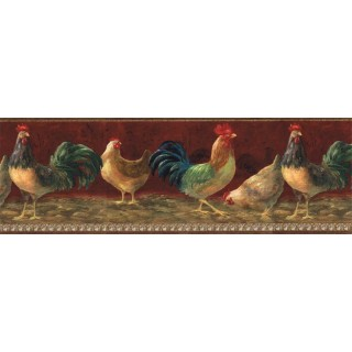 9 in x 15 ft Prepasted Wallpaper Borders - Roosters Wall Paper Border TH29004B