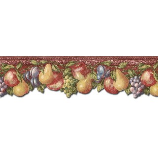6 1/8 in x 15 ft Prepasted Wallpaper Borders - Fruits Wall Paper Border TH29016DB