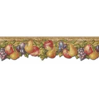 6 1/8 in x 15 ft Prepasted Wallpaper Borders - Fruits Wall Paper Border TH29017DB