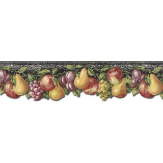 6 1/8 in x 15 ft Prepasted Wallpaper Borders - Fruits Wall Paper Border TH29018DB