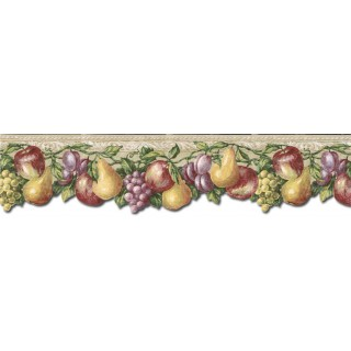 6 1/8 in x 15 ft Prepasted Wallpaper Borders - Fruits Wall Paper Border TH29019DB