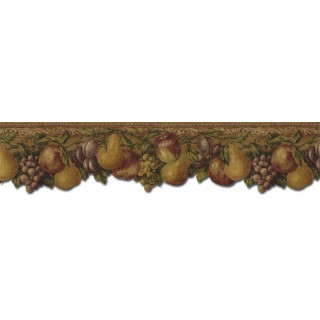 6 1/8 in x 15 ft Prepasted Wallpaper Borders - Fruits Wall Paper Border TH29020DB