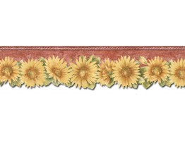 Prepasted Wallpaper Borders - Sunflowers Wall Paper Border TH29022DB
