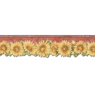 5 7/8 in x 15 ft Prepasted Wallpaper Borders - Sunflowers Wall Paper Border TH29022DB