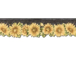 Prepasted Wallpaper Borders - Sunflowers Wall Paper Border TH29023DB