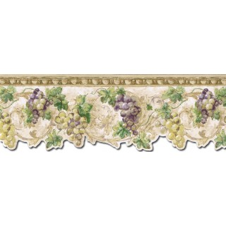 9 1/4 in x 15 ft Prepasted Wallpaper Borders - Grape Fruits Wall Paper Border TH29032DB