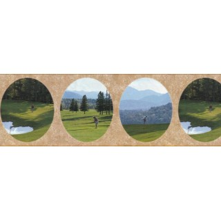 9 7/8 in x 15 ft Prepasted Wallpaper Borders - Golf Wall Paper Border B29629
