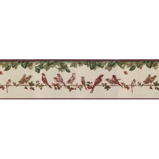 6 7/8 in x 15 ft Prepasted Wallpaper Borders - Birds Wall Paper Border B30036