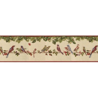 6 7/8 in x 15 ft Prepasted Wallpaper Borders - Birds Wall Paper Border B30037