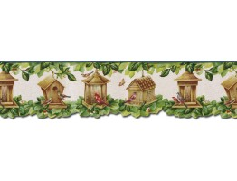 Prepasted Wallpaper Borders - Birds House Wall Paper Border B30038