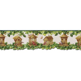 6 7/8 in x 15 ft Prepasted Wallpaper Borders - Birds House Wall Paper Border B30038