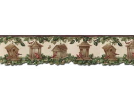 Prepasted Wallpaper Borders - Birds House Wall Paper Border B30039
