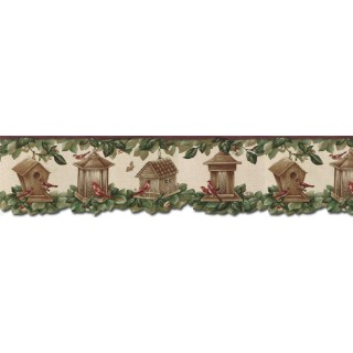 6 7/8 in x 15 ft Prepasted Wallpaper Borders - Birds House Wall Paper Border B30039