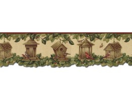 Prepasted Wallpaper Borders - Birds House Wall Paper Border B30040