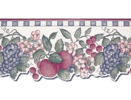 8 1/2 in x 15 ft Prepasted Wallpaper Borders - Fruits Wall Paper Border B3009C