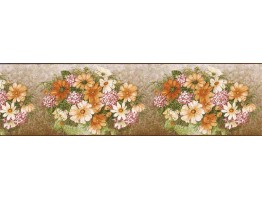 8 in x 15 ft Prepasted Wallpaper Borders - Floral Wall Paper Border H3014