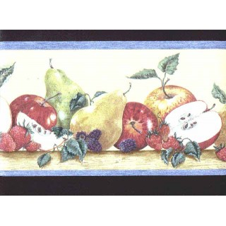 6 7/8 in x 15 ft Prepasted Wallpaper Borders - Fruits Wall Paper Border b3026cy