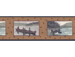 Prepasted Wallpaper Borders - Fishing Wall Paper Border B3031nv