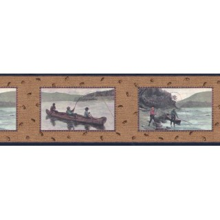 10 1/4 in x 15 ft Prepasted Wallpaper Borders - Fishing Wall Paper Border B3031nv