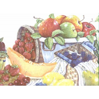 10 1/4 in x 15 ft Prepasted Wallpaper Borders - Fruits Wall Paper Border b3042cy