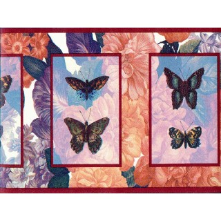 6 7/8 in x 15 ft Prepasted Wallpaper Borders - Butterfly Wall Paper Border b3063