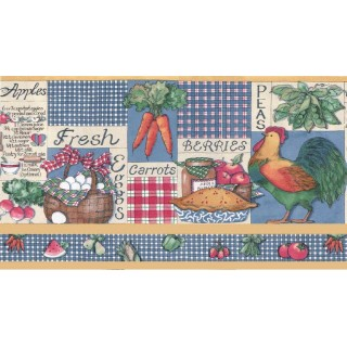 13 1/2 in x 15 ft Prepasted Wallpaper Borders - Kitchen Wall Paper Border b3212am
