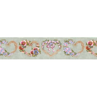 6 7/8 in x 15 ft Prepasted Wallpaper Borders - Floral Wall Paper Border B33961