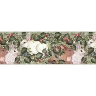 10 1/4 in x 15 ft Prepasted Wallpaper Borders - Rabbits Wall Paper Border B33962