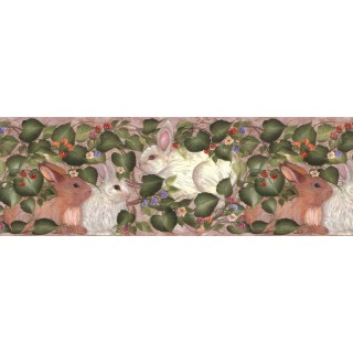 10 1/4 in x 15 ft Prepasted Wallpaper Borders - Rabbits Wall Paper Border B33966