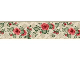 6 3/4 in x 15 ft Prepasted Wallpaper Borders - Floral Wall Paper Border B33992