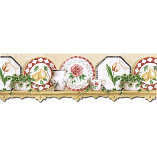 9 1/8 in x 15 ft Prepasted Wallpaper Borders - Kitchen Wall Paper Border B3603COV