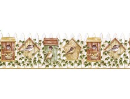 Prepasted Wallpaper Borders - Birds House Wall Paper Border B3621COV