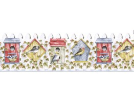 Prepasted Wallpaper Borders - Birds House Wall Paper Border B3622COV