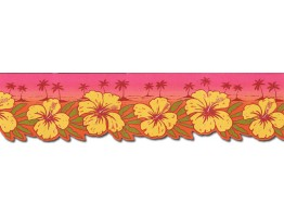 Prepasted Wallpaper Borders - Hibiscus Flowers Wall Paper Border TW38031DB