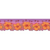 Contemporary Wall Borders: Hibiscus Flowers Wallpaper Border TW38032DB