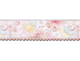 Prepasted Wallpaper Borders - Sun Moon and Stars Wall Paper Border TW38037DB