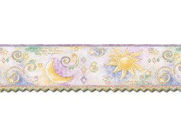 Prepasted Wallpaper Borders - Sun Moon and Stars Wall Paper Border TW38038DB