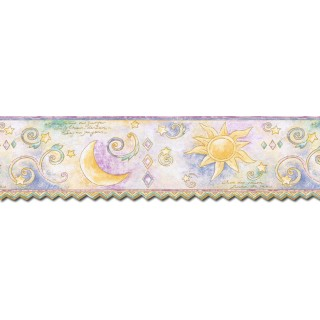 6 1/2 in x 15 ft Prepasted Wallpaper Borders - Sun Moon and Stars Wall Paper Border TW38038DB