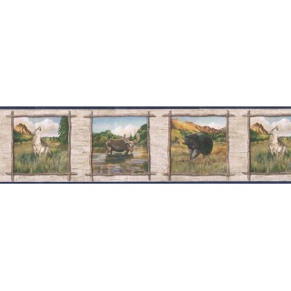 6 7/8 in x 15 ft Prepasted Wallpaper Borders - Animals Wall Paper Border TA39019B