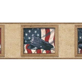 6 7/8 in x 15 ft Prepasted Wallpaper Borders - Flag Wall Paper Border TA39022B