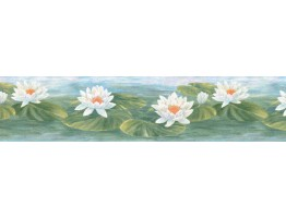 7 in x 15 ft Prepasted Wallpaper Borders - Lotus Wall Paper Border B39719