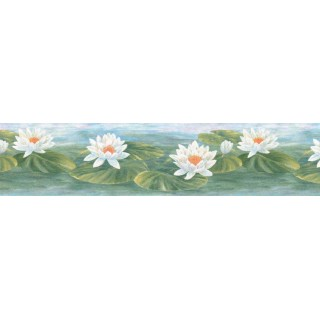 7 in x 15 ft Prepasted Wallpaper Borders - Lotus Wall Paper Border B39719