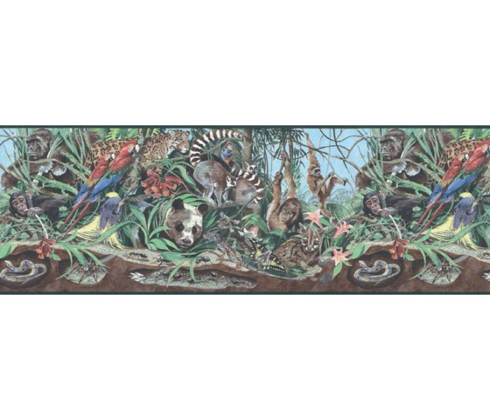 Jungle Wallpaper Borders: Animals Wallpaper Border B39901