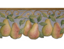 Prepasted Wallpaper Borders - Pear Fruits Wall Paper Border B40004PT