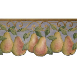 7 7/8 in x 15 ft Prepasted Wallpaper Borders - Pear Fruits Wall Paper Border B40004PT