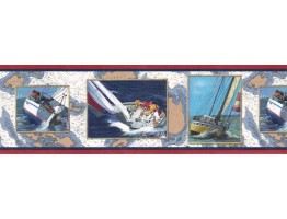 Prepasted Wallpaper Borders - Ships Wall Paper Border B4022SC