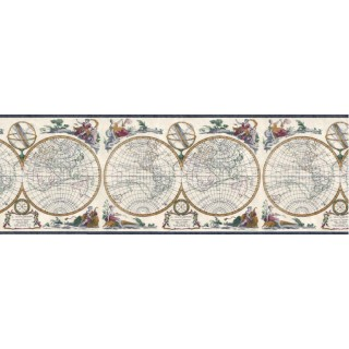 10 1/4 in x 15 ft Prepasted Wallpaper Borders - Globes Wall Paper Border B4193EB