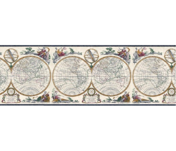 Vintage Wallpaper Borders: Globes Wallpaper Border B4193EB